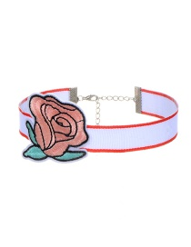 Trendy Pink Embroidery Flower Decorated Color Matching Simple Choker