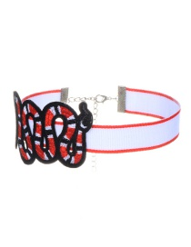 Trendy Red Embroidery Snake Decorated Color Matching Simple Choker