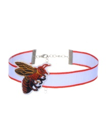 Trendy Multi-color Embroidery Bee Decorated Color Matching Simple Choker