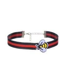 Trendy Red Embroidery Bee Decorated Color Matching Simple Choker