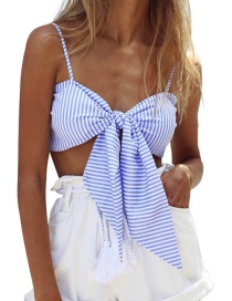Fashion Sky Blue Stripe Pattern Decorated Pure Color Simple Top