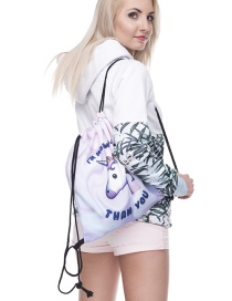 Fashion Purple Printing Uicorn Pattern Color Matching Storage Bag