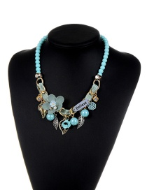 Fashion Blue Flower&beads&leaf Decorated Color Matching Simple Necklace