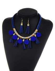 Bohemia Royalblue Fuzzy Ball&tassel Decorated Simple Color-matching Jewelry Sets