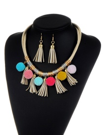 Bohemia Khaki Fuzzy Ball&tassel Decorated Simple Color-matching Jewelry Sets