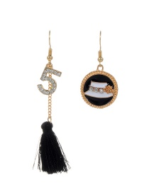 Fashion Black Number 5 Decorated Simple Tassel Design Earrings