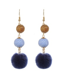 Lovely Blue Fuzzy Ball Decorated Simple Long Chain Earrings