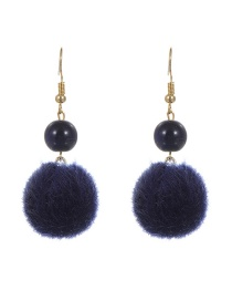 Lovely Navy Fuzzy Ball Decorated Simple Pure Color Earrings