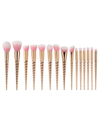 Fashion Multi-color Unicorn Shape Decorated Color Matching Cosmetic Brush (15 Pcs)