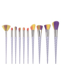Fashion Multi-color Unicorn Shape Decorated Color Matching Cosmetic Brush (10 Pcs)