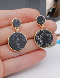 Fashion Black Round Shape Decorated Color Matching Simple Earrings