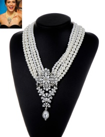 Fashion Milk White Pearl&diamond Decorated Multi-layer Design Simple Necklace