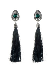 Fashion Green Diamond Decorated Tassel Design Pure Color Earrings