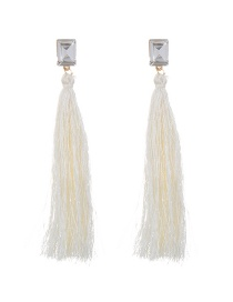Fashion White Tassel&diamond Decorated Pure Color Simple Earrings