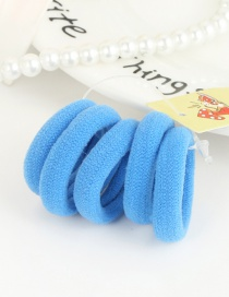 Cute Blue Pure Color Decorated Simple Round Shape Hair Band (5pcs)