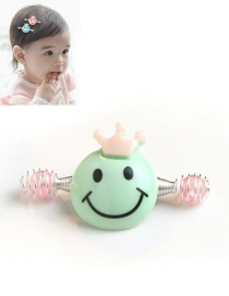 Cute Green Smiling Face Decorated Simple Baby Hairpin