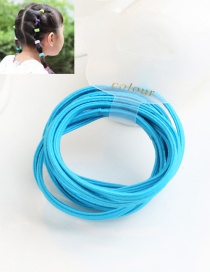 Cute Dark Blue Pure Color Decorated Simple Round Hair Band (10pcs)