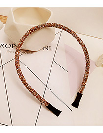 Fashion Pink Diamond Decorated Pure Color Simple Hair Hoop