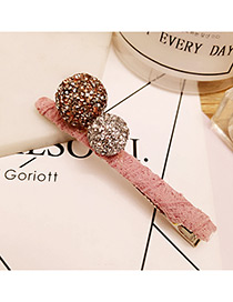 Elegant Pink Diamond Decorated Ball Shape Color Matching Hairpin