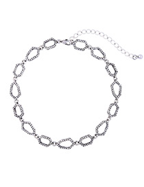 Fashion Silver Color Polygon Decorated Simple Hollow Out Necklace