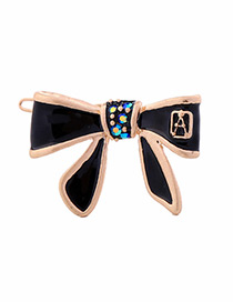 Vintage Black Bowknot Shape Decorated Simple Hairpin