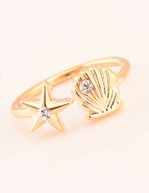 Fashion Gold Color Shell Decorated Opening Ring