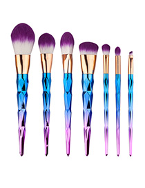 Fashion Blue+purple Unicorn Design Pure Color Decorated Simple Cosmetic Brush (7pcs)