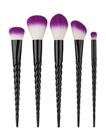 Fashion Black Unicorn Design Pure Color Decorated Simple Cosmetic Brush (5pcs)