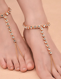 Sexy Gold Color Diamond Decorated Tassel Design Anklet