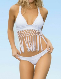 Sexy White Tessal Decorated Simple Pure Color Bathing Suit