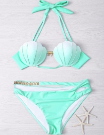 Lovely Green Shell Shape Decorated Simple Color Matching Bikini