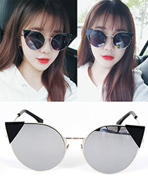 Fashion Silver Color Cat's Eye Shape Decorated Simple Pure Color Sunglasses