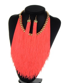 Bohemia Fluorescent Pink Long Tassel Decorated Simple Pure Color Jewelry Sets
