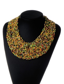 Bohemia Yellow+green+black Pure Color Decorated Simple Hand-woven Design Necklace