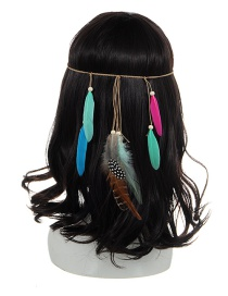 Bohemia Multi-color Feather Pendant Decorated Simple Hair Band