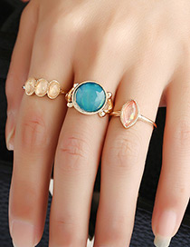 Vintage Gold Color Round Shape Decorated Simpe Rings (3pcs)