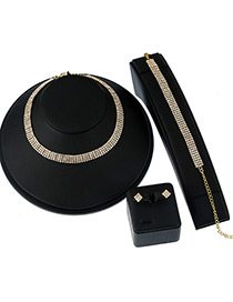 Elegant Gold Color Pure Color Decorated Simple Short Chain Jewelry Sets