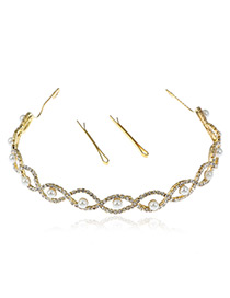 Elegant Gold Color Hollow Out Shape Decorated Round Shape Design Hair Clasp