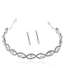 Elegant Silver Color Hollow Out Shape Decorated Round Shape Design Hair Clasp