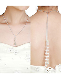 Elegant Silver Color Round Shape Decorated Simple Long Chain Necklace