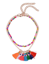 Bohemia Multi-color Tassel Decorated Simple Color-matching Double Layer Choker