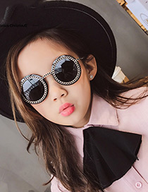 Fashion Black Round Shape Decorated Sunglasses