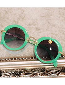 Fashion Green Pure Color Decorated Round Shape Children Sunglasses