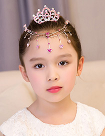 Lovely Pink Crown Decorated Pure Color Hair Accessories(hair Chain+comb)