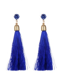 Bohemia Royalblue Pure Color Decorated Long Chain Earrings
