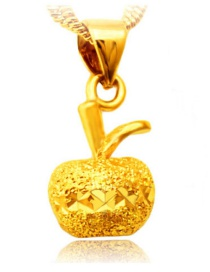 Elegant Gold Color Apple Shape Pendant Decorated Simple Pure Color Pendant (not Including Chain )