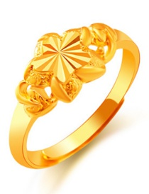 Elegant Gold Color Flower Shape Decorated Simple Pure Color Ring