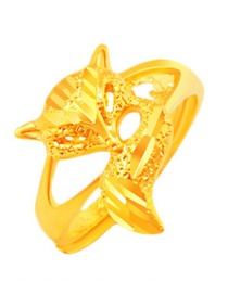 Elegant Gold Color Fox Shape Decorated Simple Pure Color Ring