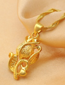 Elegant Gold Color Rose Shape Decorated Simple Pure Color Pendant (not Including Chain )