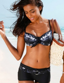 Fashion Black Bowknot Shape Decorated Simple Two-piece Swimming Suit